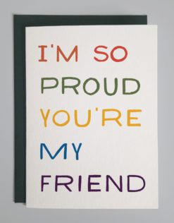 """Outside of card that reads in colorful block letters, """"I'm so proud you're my friend"""""""