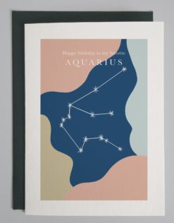 """Colorful drawing with image of the Aquarius constellation and words that read """"happy birthday to my favorite Aquarius!"""""""
