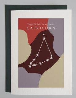 Colorful drawing with image of the Capricorn constellation and words that read Happy birthday to my favorite capricorn!