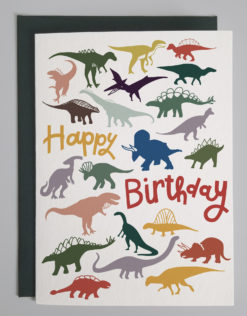image of happy birthday card with multi colored dinosaurs