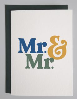 Card that reads Mr and Mr in blue, green and yellow
