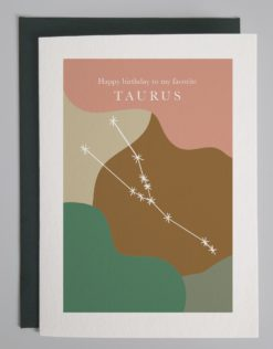 """Card that reads """"happy birthday to my favorite taurus"""" with the taurus constellation show on a colorful background"""