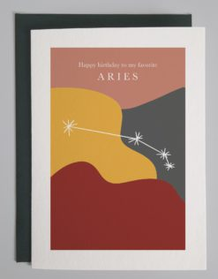 """Card that reads """"happy birthday to my favorite aries"""" with the aries constellation show on a colorful background"""