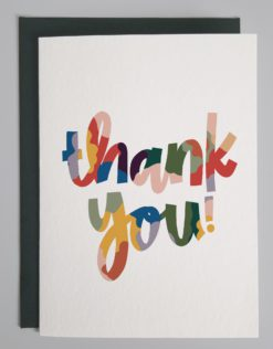 card that says Thank You in colorful script hand lettering